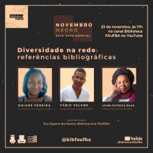 """Card de divulgação do evento """"Diversidade na rede: referências bibliográficas"""""""